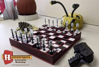 """Check it out, Farscape fans! One of HammerSpace owner @davecdalton 's recent """"someday projects"""", over 20 years in the contemplation but less than 20 hours of work to actually make:  Uncharted Chess - A Farscape Replica prop. (With DRD opponent) 🌌  Made at @hammerspaceworkshop in Kansas City. . . . @hammerspaceworkshop @farscapeofficial @farscapecontinues #hammerspacekc #makerspace #farscape #farscapefans #farscapeforever #farscape #lasercutting #3dprinting #moldingandcasting #woodworking #farscapeprop #kansascitymakers #propreplica #hensoncreatureshop #drd"""