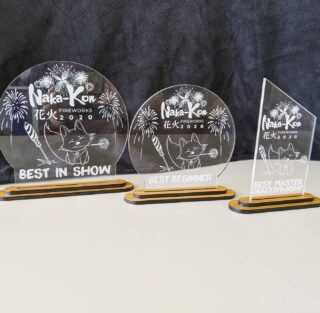 Here are the adorable laser cut/etched costume contest trophies our makerspace made for Naka-Kon 2020 right before they were forced to postpone this year's event due to social distancing. This con has been a yearly tradition for our cosplay loving family for so many years, and we can't wait to get the chance to support them again in the future. ❤️🎏 . .  #hammerspacekc #makerspace #lasercutting #customtrophies #nakakon2020 #kansascitycosplay #overlandparkconventioncenter #kansascitymakers #customfabrication #kansascity #overlandparkks @hammerspaceworkshop @nakakonanime
