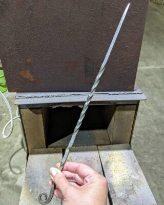 """Photos from the weekend's """"Intro To Blacksmithing: Viking Fork"""" class at our makerspace in KCMO. Check the calendar page of our website to view and sign up for upcoming classes like this one: hammerspacehobby.com/calendar  🔥🔥🔥 . . #hammerspacekc #hammerspace #makerspace #communitymetalshop #blacksmithingclass #kansascitymakers #blacksmithing #vikingfork #kansascity @hammerspaceworkshop @officialnationofmakers"""