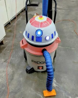 """When the makerspace owner gets some free time to work on his own just-for-fun projects... We named this custodial droid """"MT-M3"""" (pronounced """"Empty Me""""). 🤖  . . .  @hammerspaceworkshop @officialnationofmakers #hammerspacekc #hammerspace #makerspace #hackerspace #digitalfabrication #communitywoodshop #communitymetalshop #kansascitymakerspace #droids #rigidshopvac #starwars #kansascitymakers @davecdalton"""